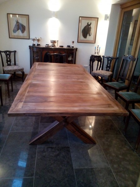 English Walnut X form pannelled dining table