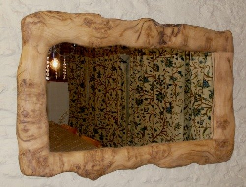 Sculpted Burr Oak Mirror
