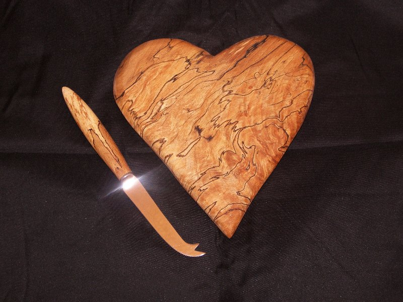 Heart and Knife in Splated Beech
