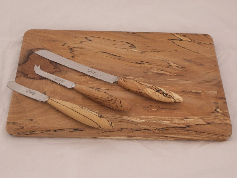 Spalted Beech Board and Knives